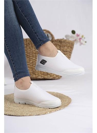 Oksit Lance Cilt Detaylı Fileli Kalın Taban Kadın Sneaker Beyaz